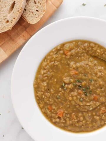 red lentil soup in a white bowl