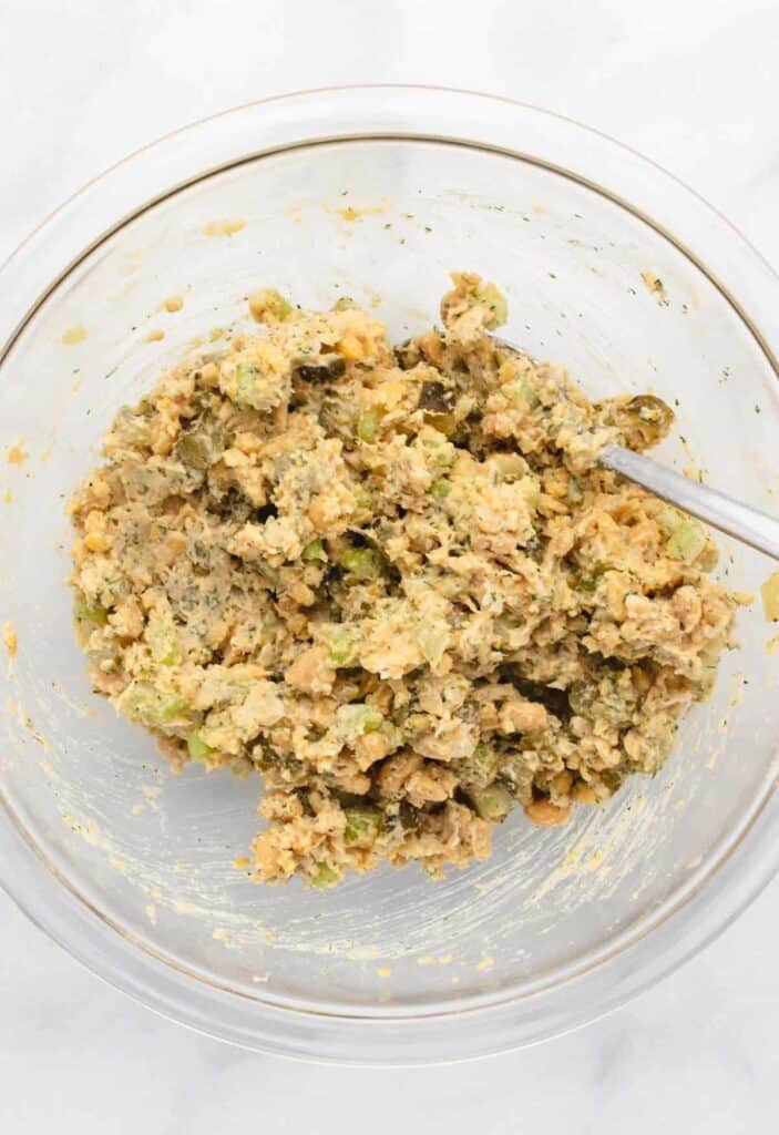 ingredients mixed for chickpea salad sandwich