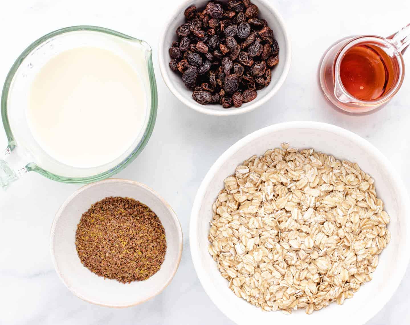 mise en place for vegan overnight oats
