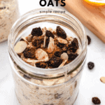 overnight oats in a jar with raisins