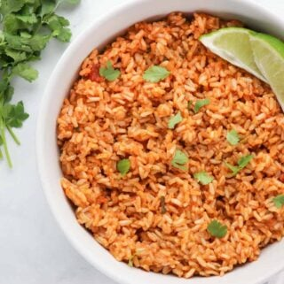 Mexican brown rice made with salsa