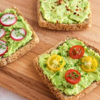 Delicious avocado toast three ways, perfect for breakfast or a healthy snack.