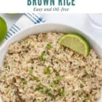 cilantro lime brown rice with a lime wedge