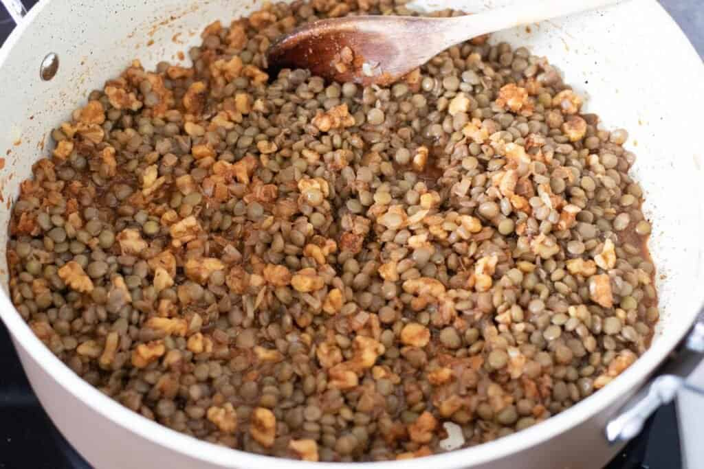 all ingredients in pan for lentil taco meat