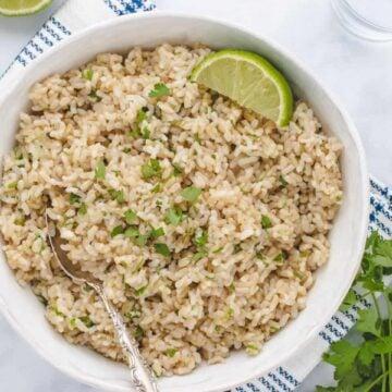 cilantro lime brown rice in a white bowl