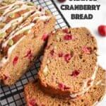 vegan orange cranberry bread on a cooling rac