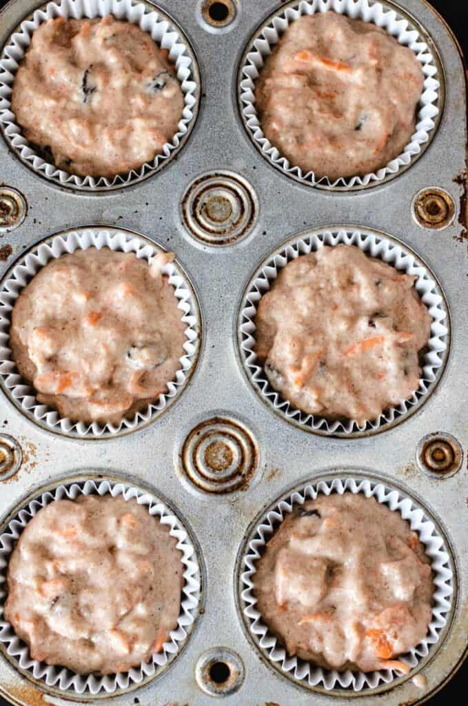 carrot muffins in a tray to bake