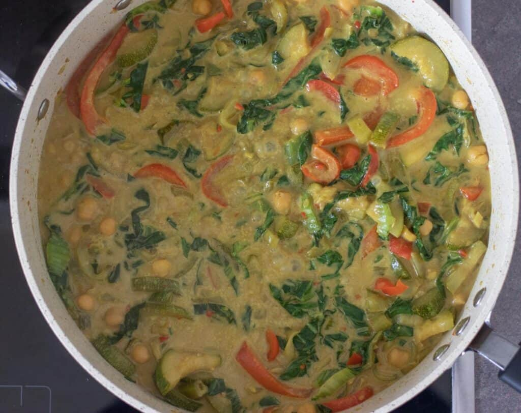 cooked coconut curry in a pan