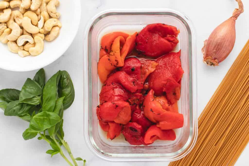 ingredients for red pepper pasta