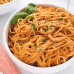 roasted red pepper pasta in a bowl