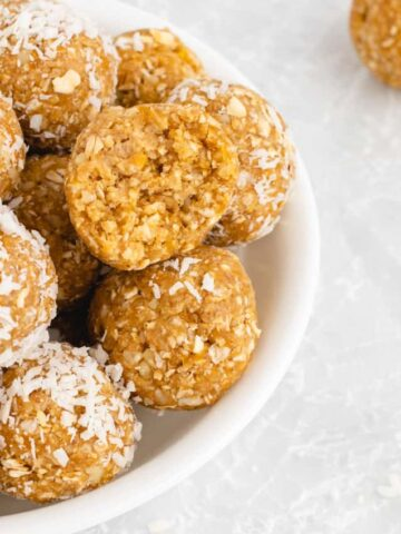 apricot energy balls with shredded coconut