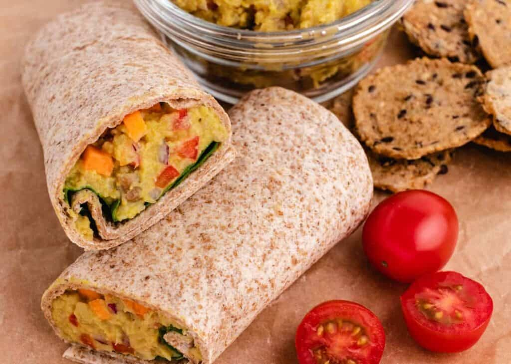 curry chickpea wrap with carrots and spinach
