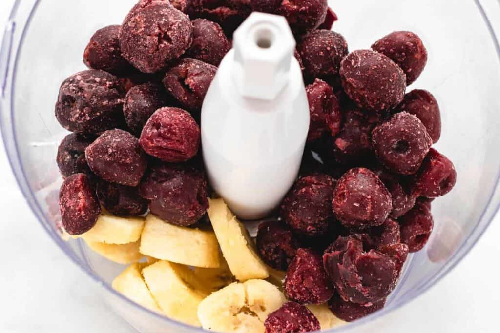 frozen cherry and bananas in food processor