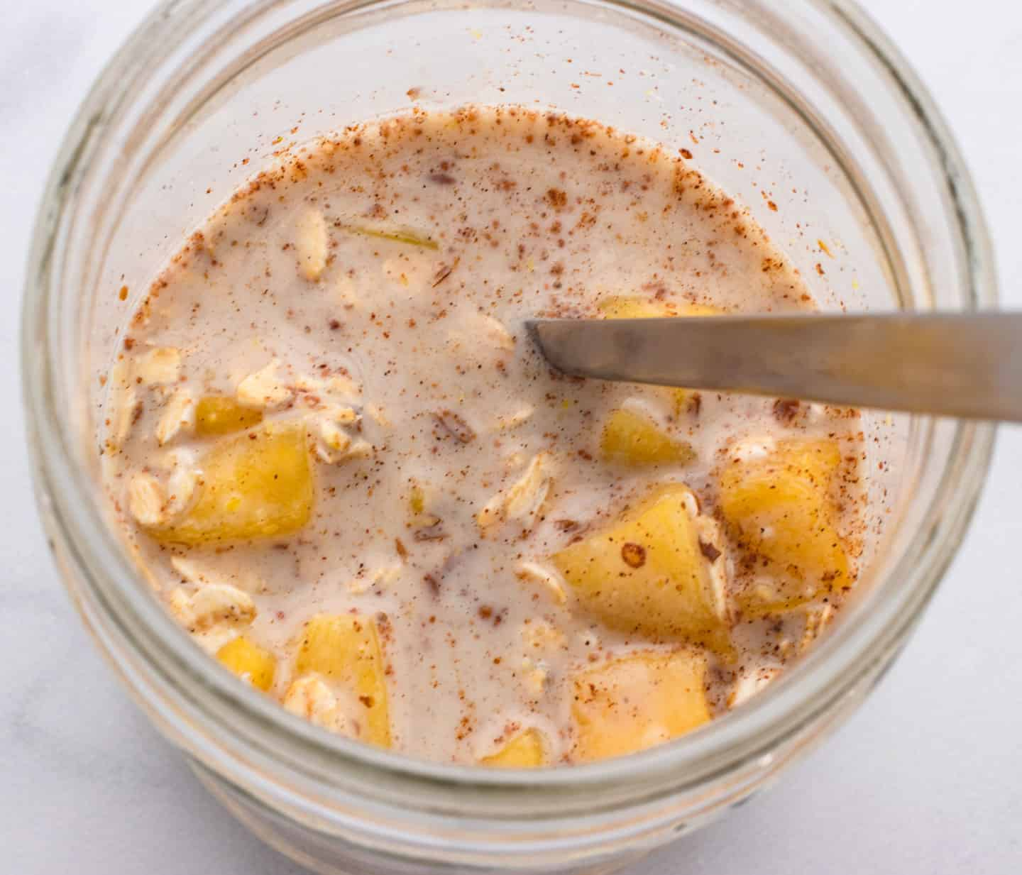 mix ingredients for mango overnight oats