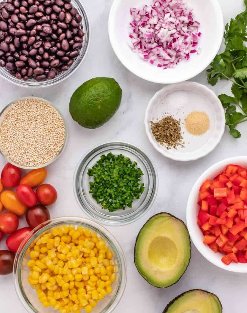 ingredients for a southwest quinoa salad
