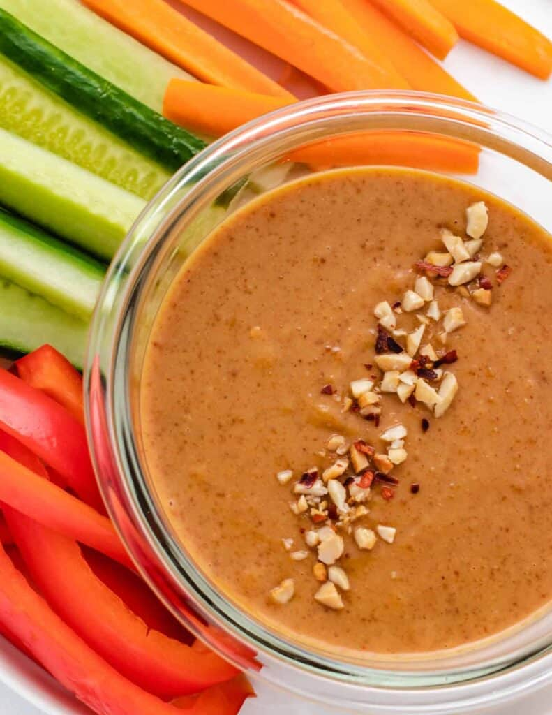 peanut dipping sauce in a glass bowl