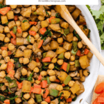 Vegan Potato hash with mushrooms, chickpeas, and bell peppers