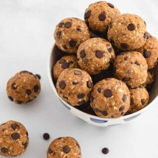 no bake cookie dough bites in a bowl