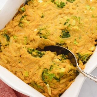 cheese broccoli hash brown casserole in a baking dish