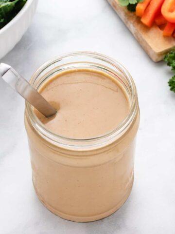 smoky tahini dressing in a jar