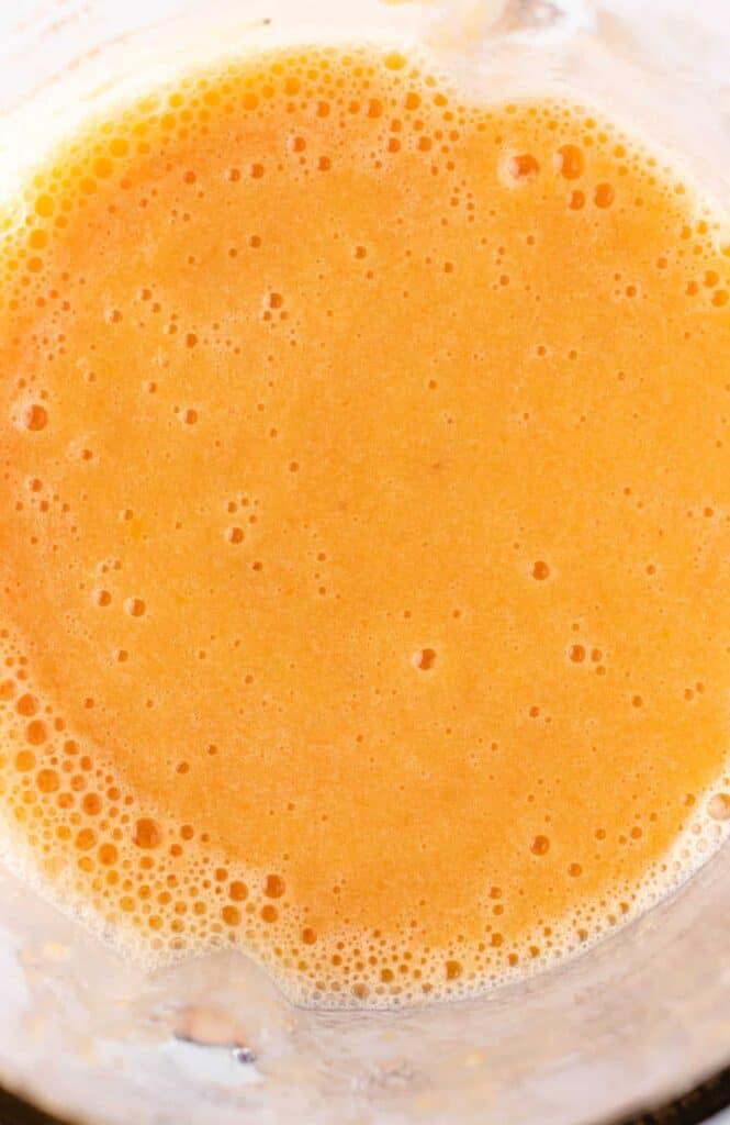 carrot orange smoothie in a blender
