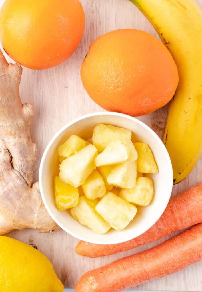 ingredients for carrot orange smoothie