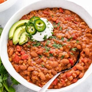red lentil chili with avocado
