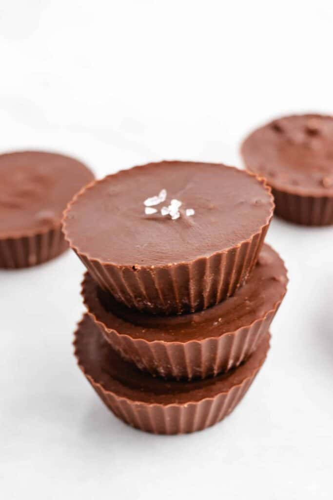 chocolate peanut butter cups stacked