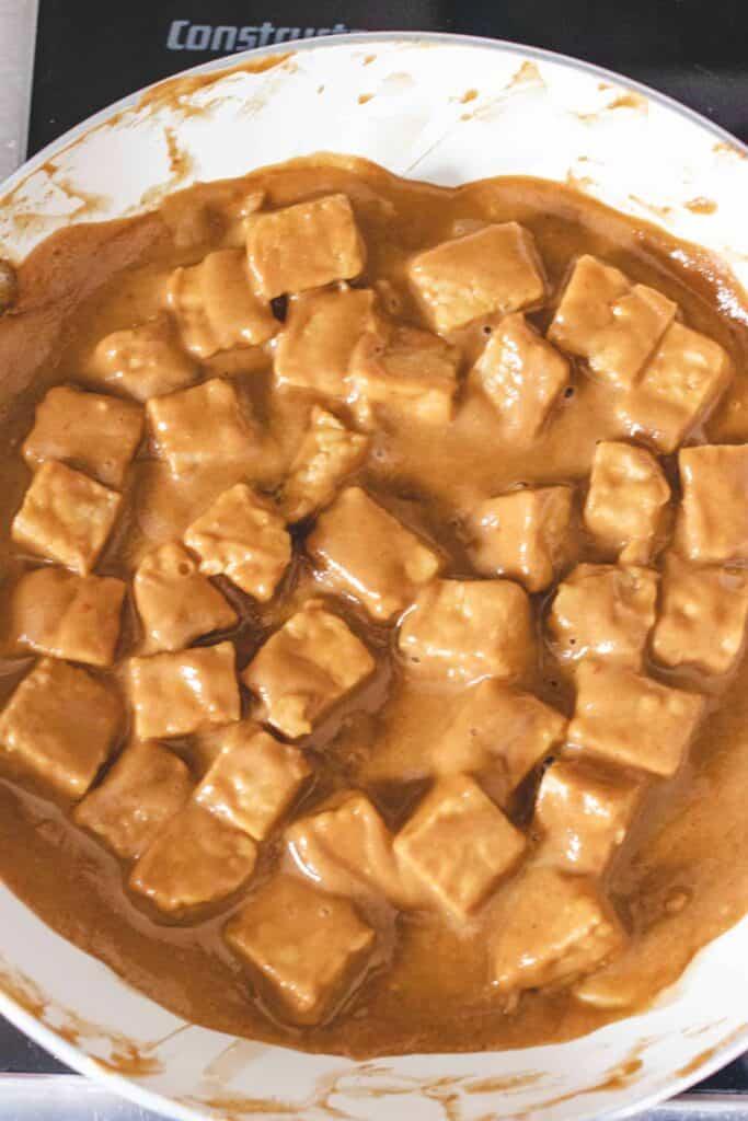 peanut tempeh in pan