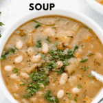 white bean and potato soup in a white bowl