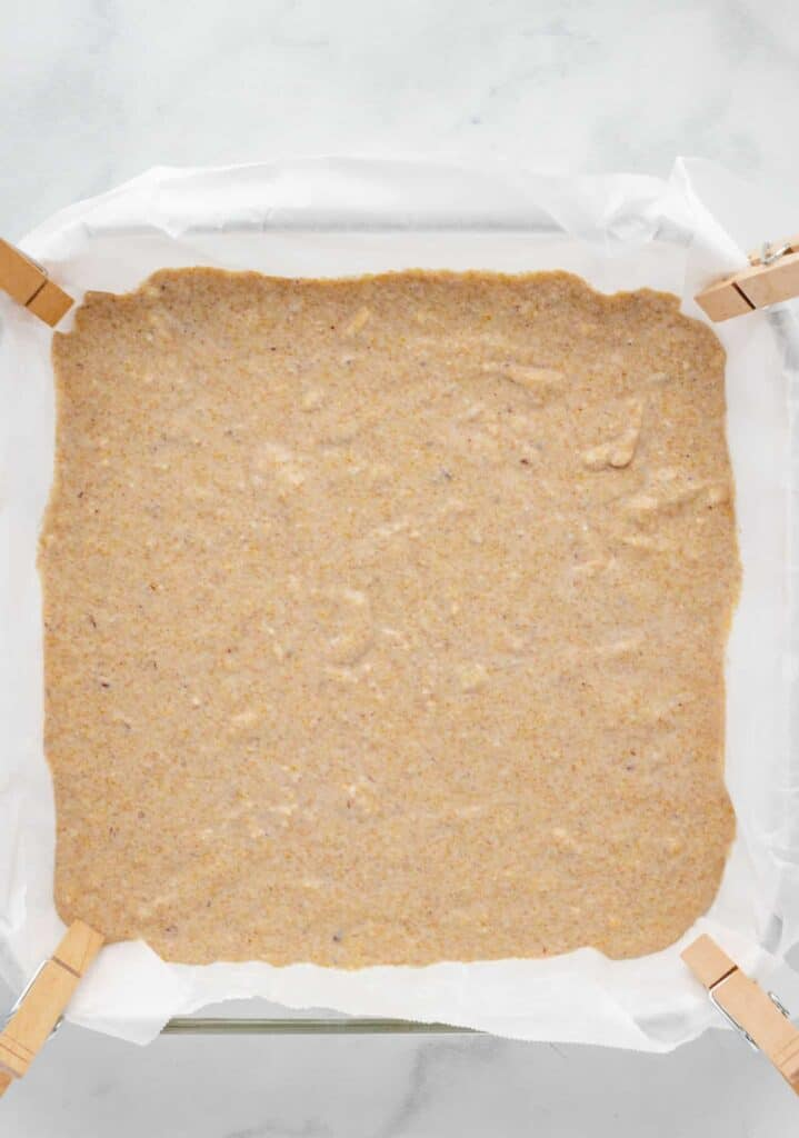 cornbread mixture in a pan