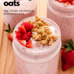 strawberry overnight oats in a glass jar