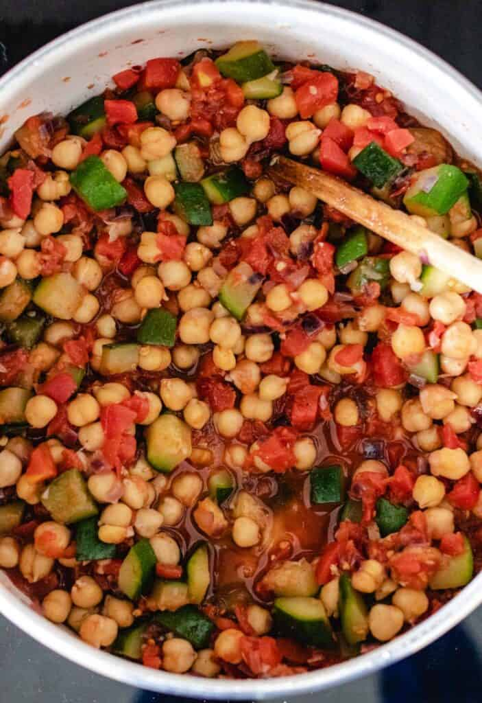 ready to cook chickpea stew in a large pot