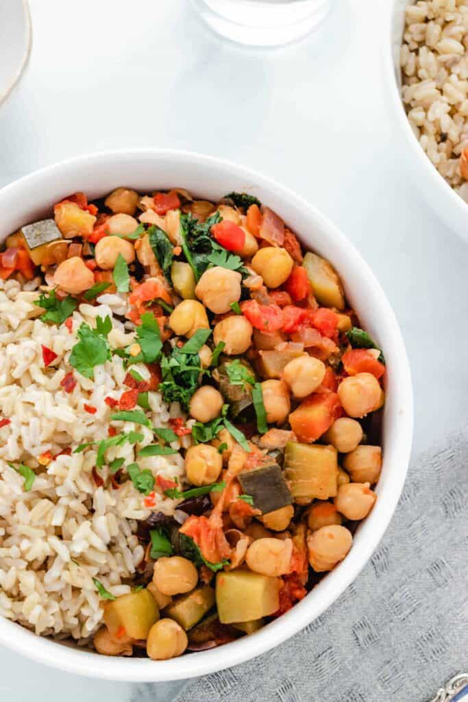 stewed chickpeas with rice in a bowl