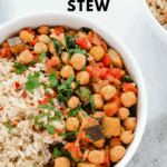 vegan chickpea stew with brown rice