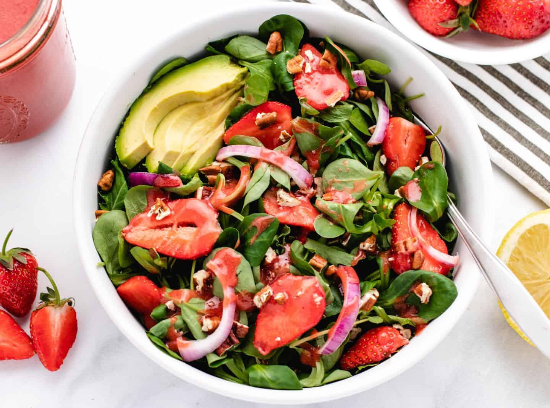 Strawberry Avocado Salad in a bowl