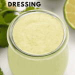 cilantro cashew dressing in a glass jar