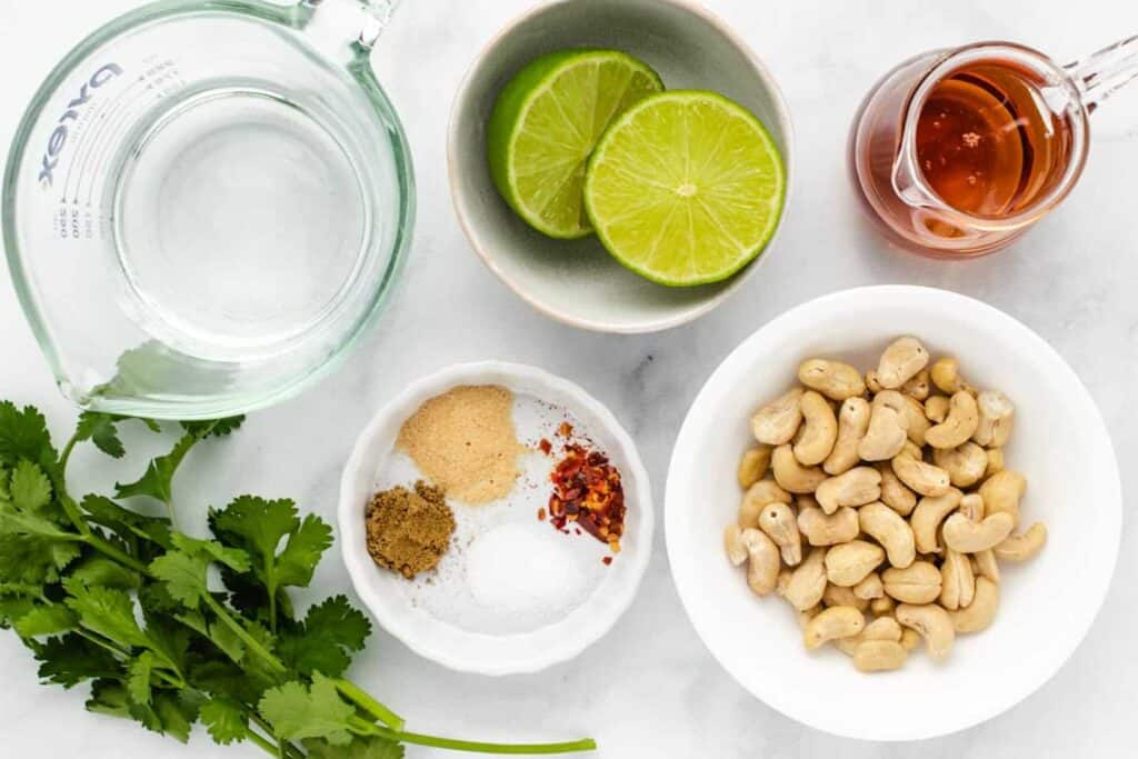 ingredients for cashew cilantro dressing