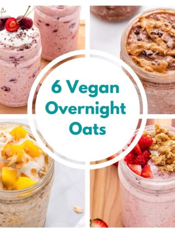 collage of four overnight oats