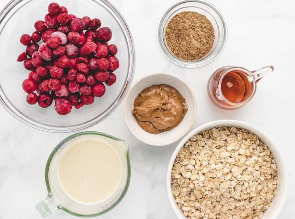ingredients for cherry overnight oats