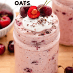 cherry overnight oats in a jar