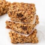 three raisin oatmeal bars stacked