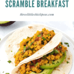 spicy tofu scramble tacos on a plate with avocado slices