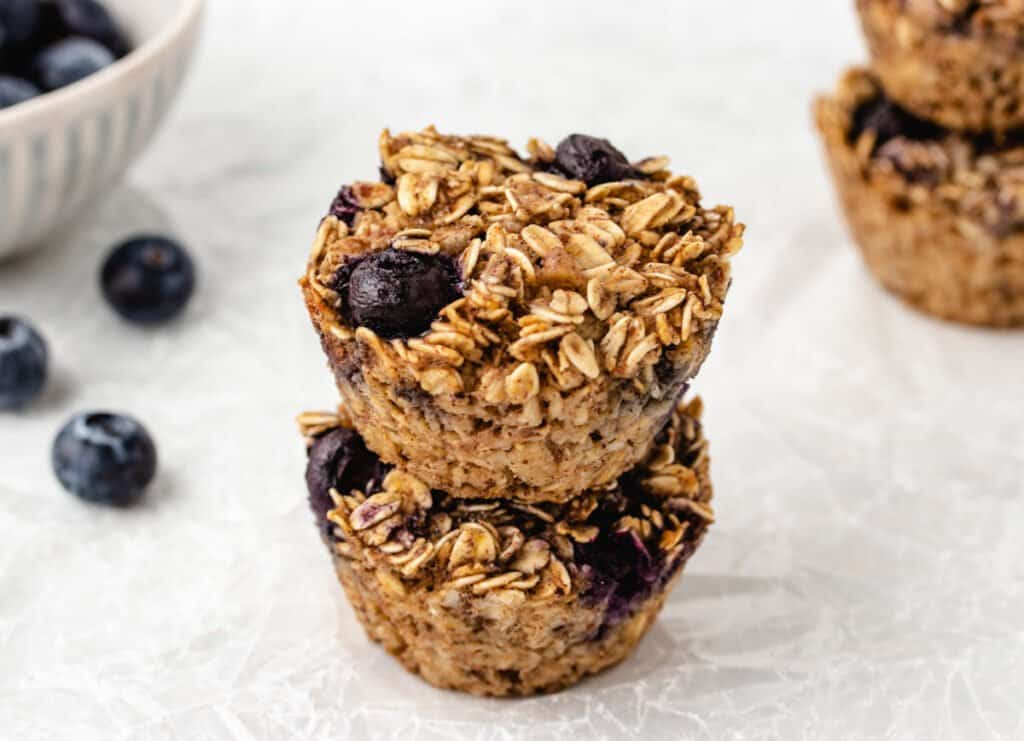 two lemon blueberry oatmeal cups stacked